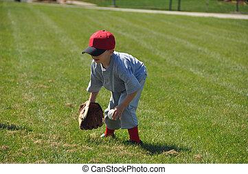 pequeno, jogador beisebol beisebol