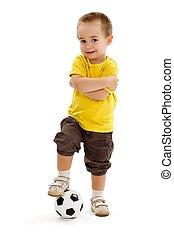 pequeno, jogador futebol, menino, com, pequeno, bola