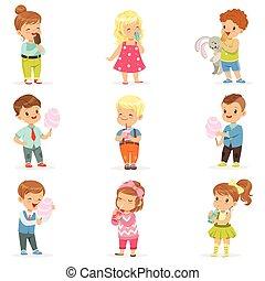 pequeno, jogo, comer, meninos, meninas, coquetéis, doces, bebendo