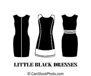 pequeno, jogo, pretas, vestidos