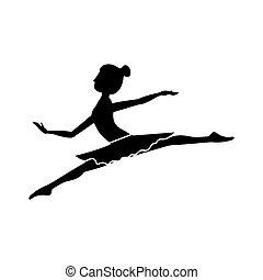 pequeno, lanças, dançarino, silueta, posição