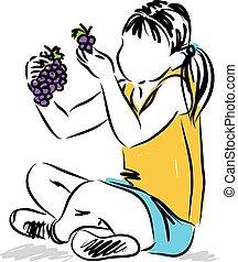 pequeno, lanche, comer, ilustração, uvas, menina