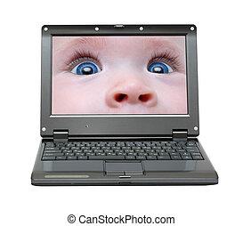 pequeno, laptop, com, bebê, olhos