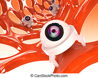 pequeno, laranja, nanotube, robôs, estrutura