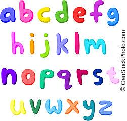 pequeno, letras, coloridos