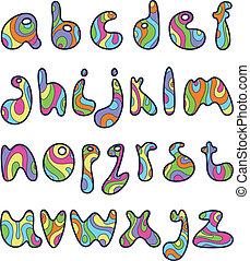 pequeno, letras, piscodelica