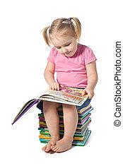 pequeno, livro leitura, criança