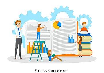 pequeno, livro, trabalhando, pessoas negócio