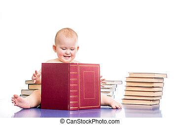 pequeno, livros, menina, cercado