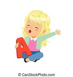 pequeno, loiro, menina, sentar pernas cruzadas, e, segurando, brinquedo, carta um, em, mão., educacional, jogo, para, desenvolvimento, de, fala, terapia, exercise., apartamento, vetorial, desenho