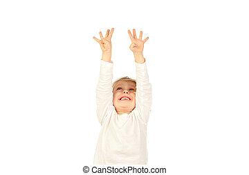 pequeno, loura, criança, levantamento, seu, braços