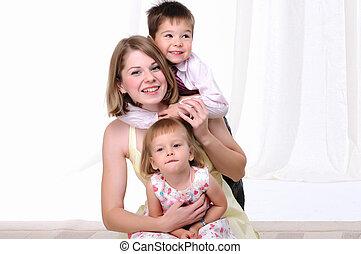 pequeno, mãe, filha, dela, filho