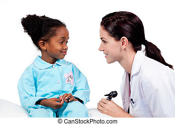 pequeno, médico, assistindo, exame, menina, adorável