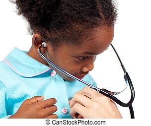 pequeno, médico, estetoscópio, exame, menina, tocando