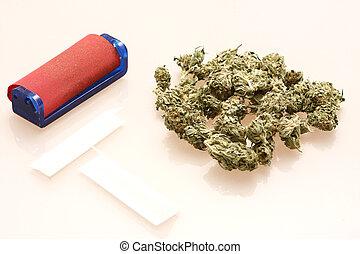 pequeno, médico, pilha, marijuana