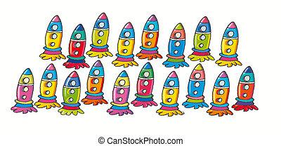 pequeno, mísseis, colorido