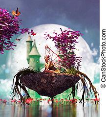 pequeno, mítico, ilha, pixie, fantasia, 3d