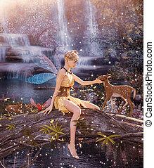 pequeno, mítico, pixie, fantasia, floresta, 3d