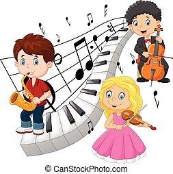 pequeno, música, crianças, tocando