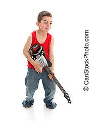 pequeno, músico, tocando, um, guitarra