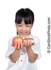 pequeno, maçã, chinês, donut, asiático, segurando, menina
