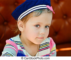 pequeno, marinheiro, menina
