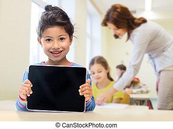 pequeno, menina escola, com, pc tabela, sobre, sala aula