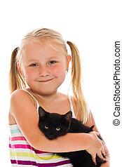 pequeno, menina, gatinho