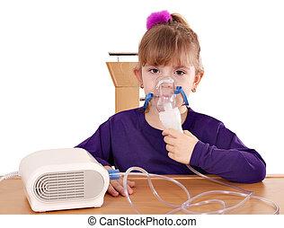 pequeno, menina,  inhalation