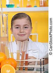 pequeno, menina, laboratório