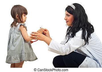pequeno, menina mulher, doutor