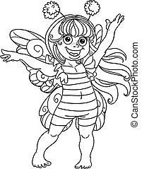 pequeno, menina, paleto, carnaval, abelha