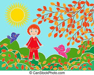 pequeno, menina, perto, árvore, em, ensolarado, dia outono