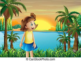 pequeno, menina, riverbank
