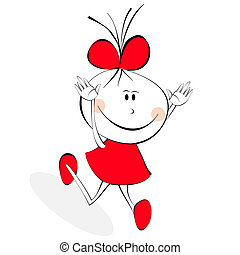 pequeno, menina, vestido, vermelho