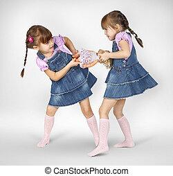 pequeno, meninas gêmeas, luta