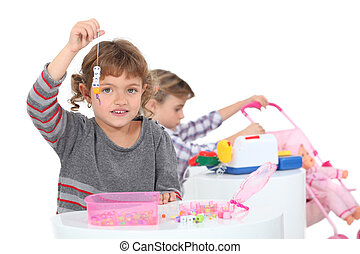 pequeno, meninas, tocando, brinquedos