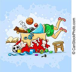 pequeno, menino, caixa, cheio, de, brinquedos