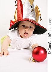 pequeno, menino, em, a, chapéu, de, jester