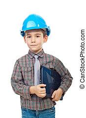 pequeno, menino, laptop, arquiteta