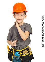 pequeno, menino, linha, carregar, construtor