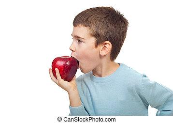 pequeno, menino, maçã, bitting
