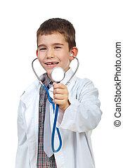 pequeno, menino, stehoscope, doutor