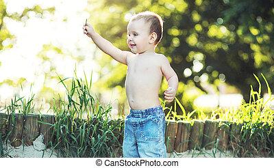 pequeno, menino, tocando, jardim