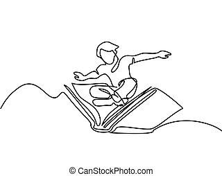 pequeno, menino, voando, com, livro, em, a, céu