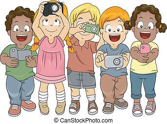 pequeno, meninos meninas, fazendo exame retratos, com,...