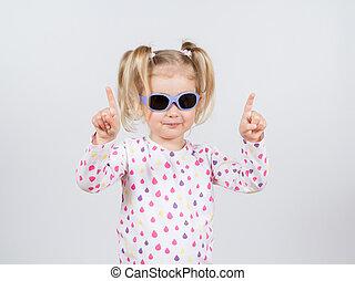 pequeno, moda, óculos de sol, menina