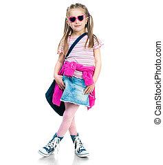 pequeno, moda, menina