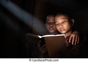 pequeno, monges, livro leitura
