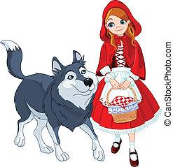 pequeno, montando, lobo, vermelho, capuz